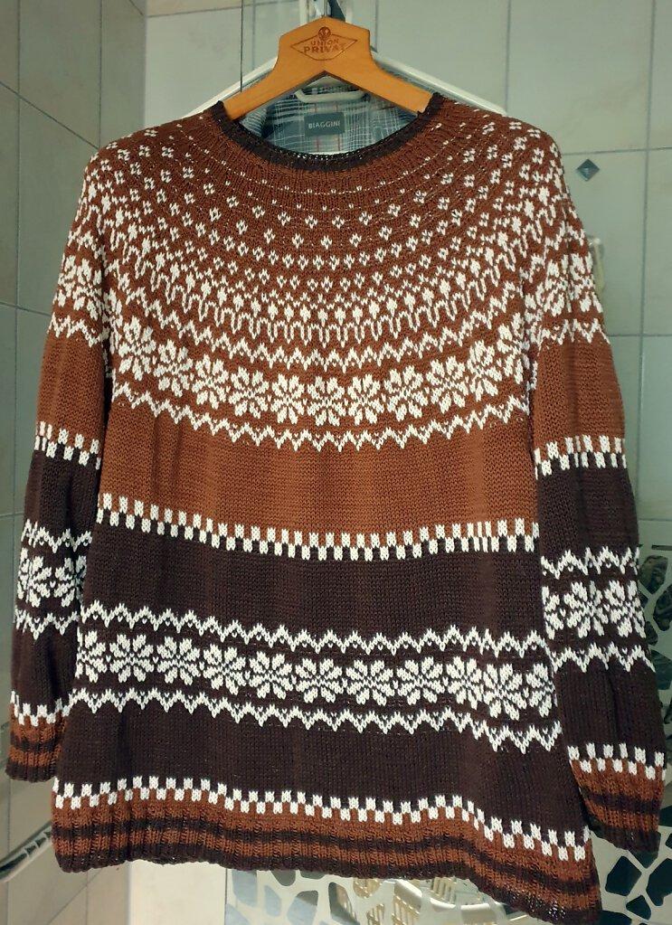 Pullover braun-weiß