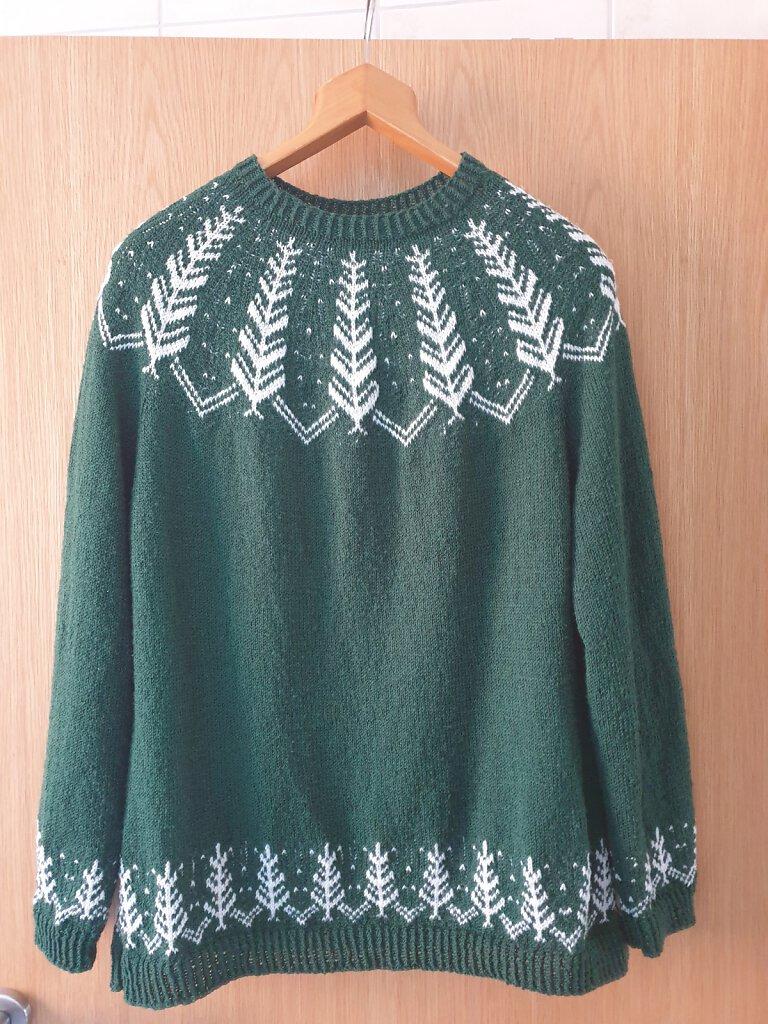 Pullover grün-weiß
